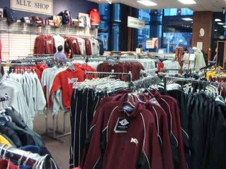 A bunch of sweatshirts and jackets at The Coop