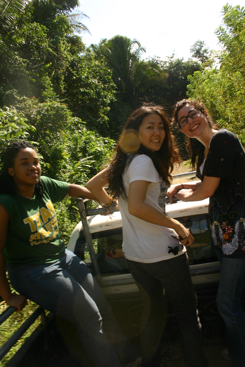 In the back of the pickup truck. Left to right: Chelsie Librun, Miho Kitagawa, Nina Jreige Photo by Benjamin Moncivaiz