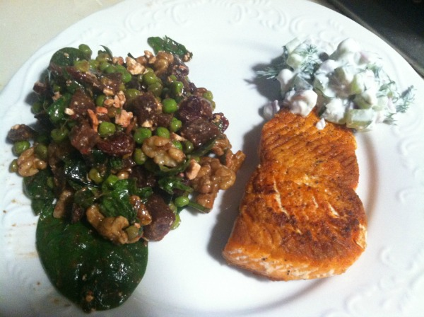 Salmon with Chunky Tzatziki and Spinach Salad