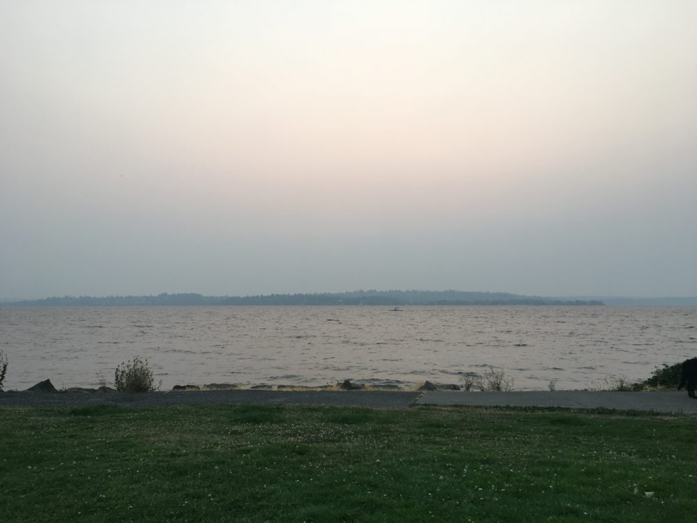 Lake Washington on a very smoky day. You can't see the sun.