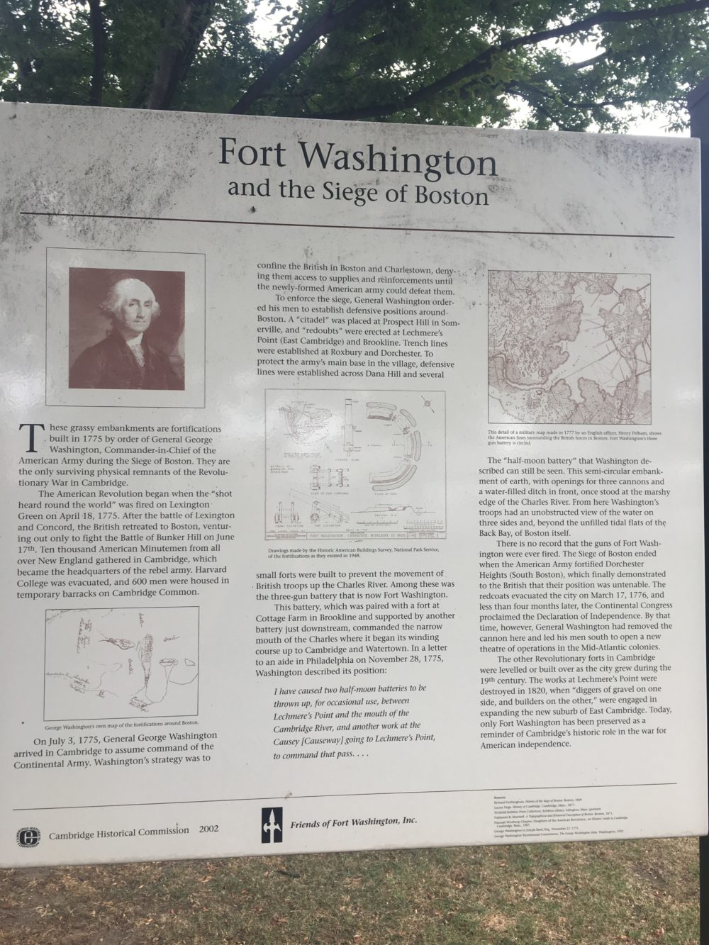 "A sign with a portrait of George Washington. The title is ""Fort Washington and the Siege of Boston""."