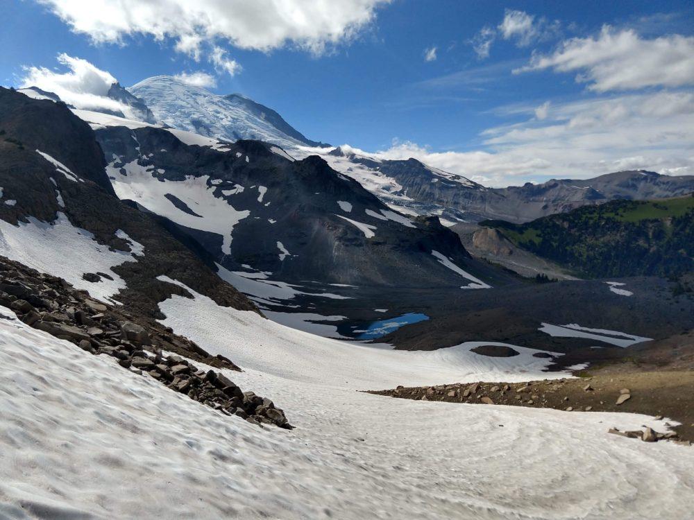 The snow-covered peaks of Rainier