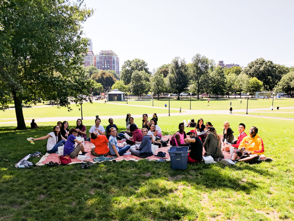 a group photo on our boston commons picnic!