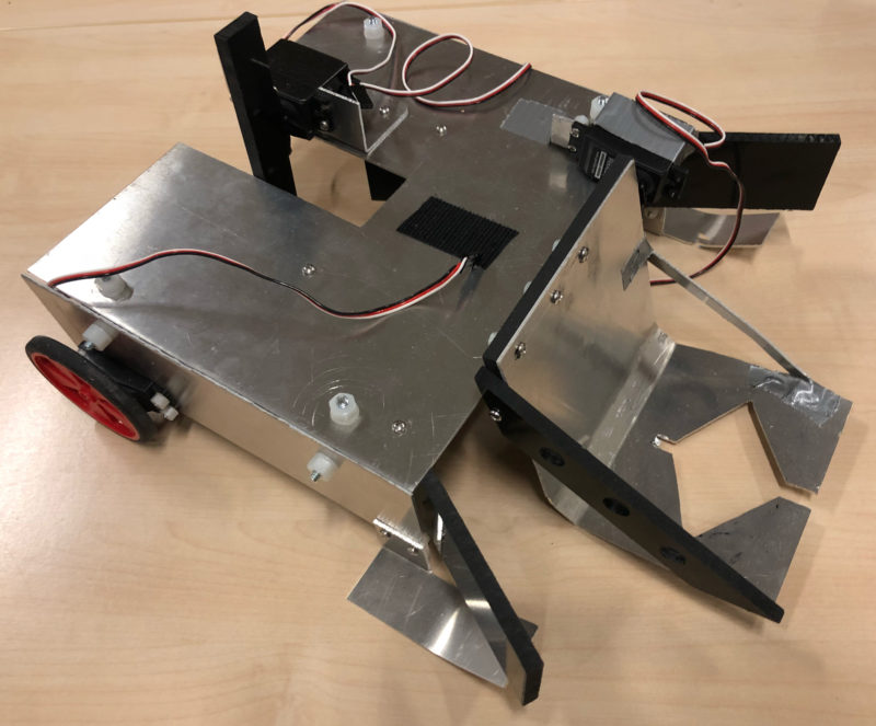 a student-made soccer-playing robot