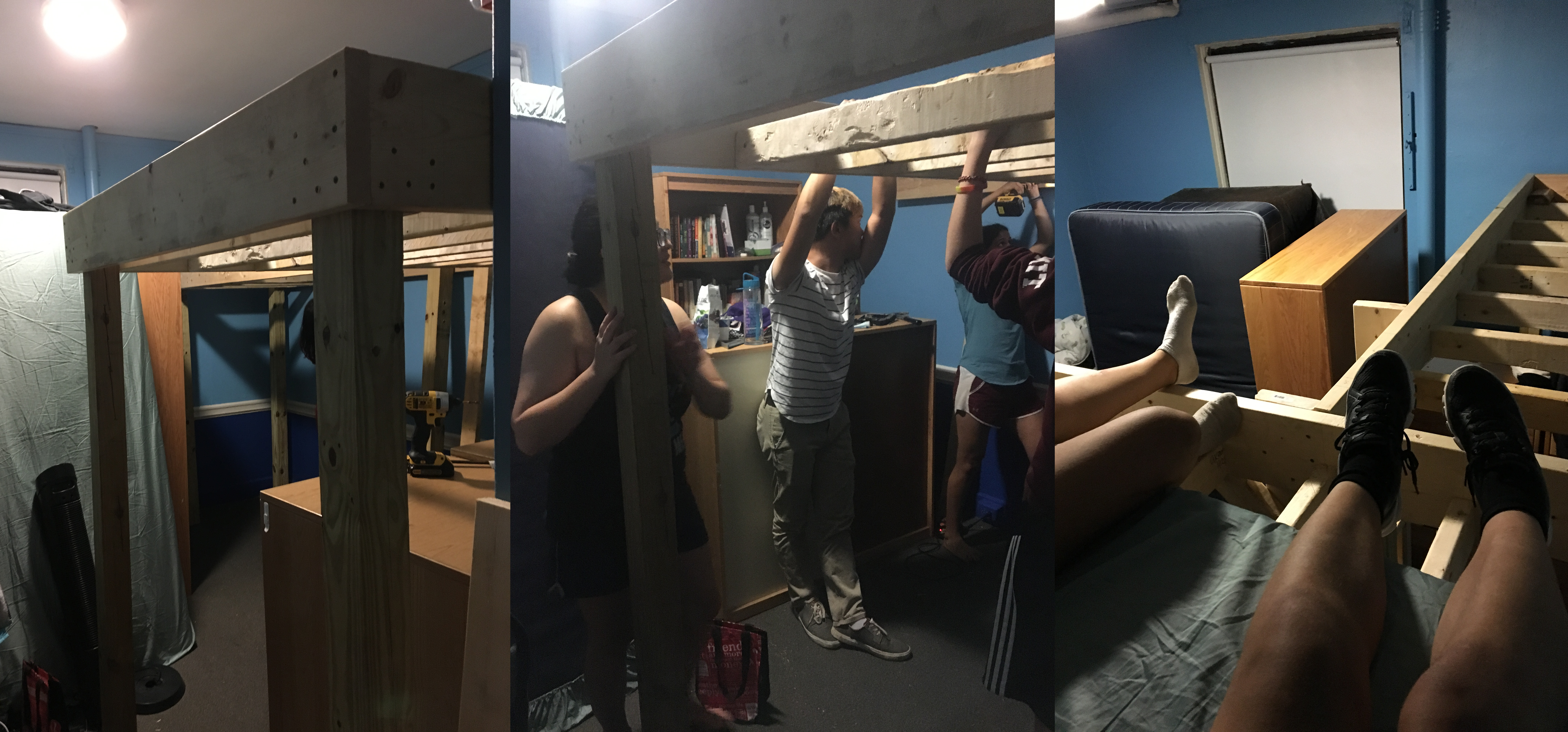 Three images: 1. In the foreground, the first completed loft can be seen. A second loft is in the background, and some but not all of the furniture has been moved out of sight. 2. A group of people hold the bedframe from earlier photos in the air. A 4x4 pillar can be seen at one corner, supporting it. 3. My and my roommate's legs, sitting on my lofted mattress. Her bedframe can be seen to the right, and the tops of our furniture to the left.