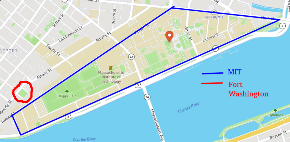 A map showing MIT and the location of Fort Washington