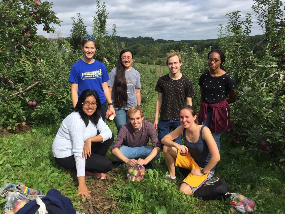 our friends and us at apple picking