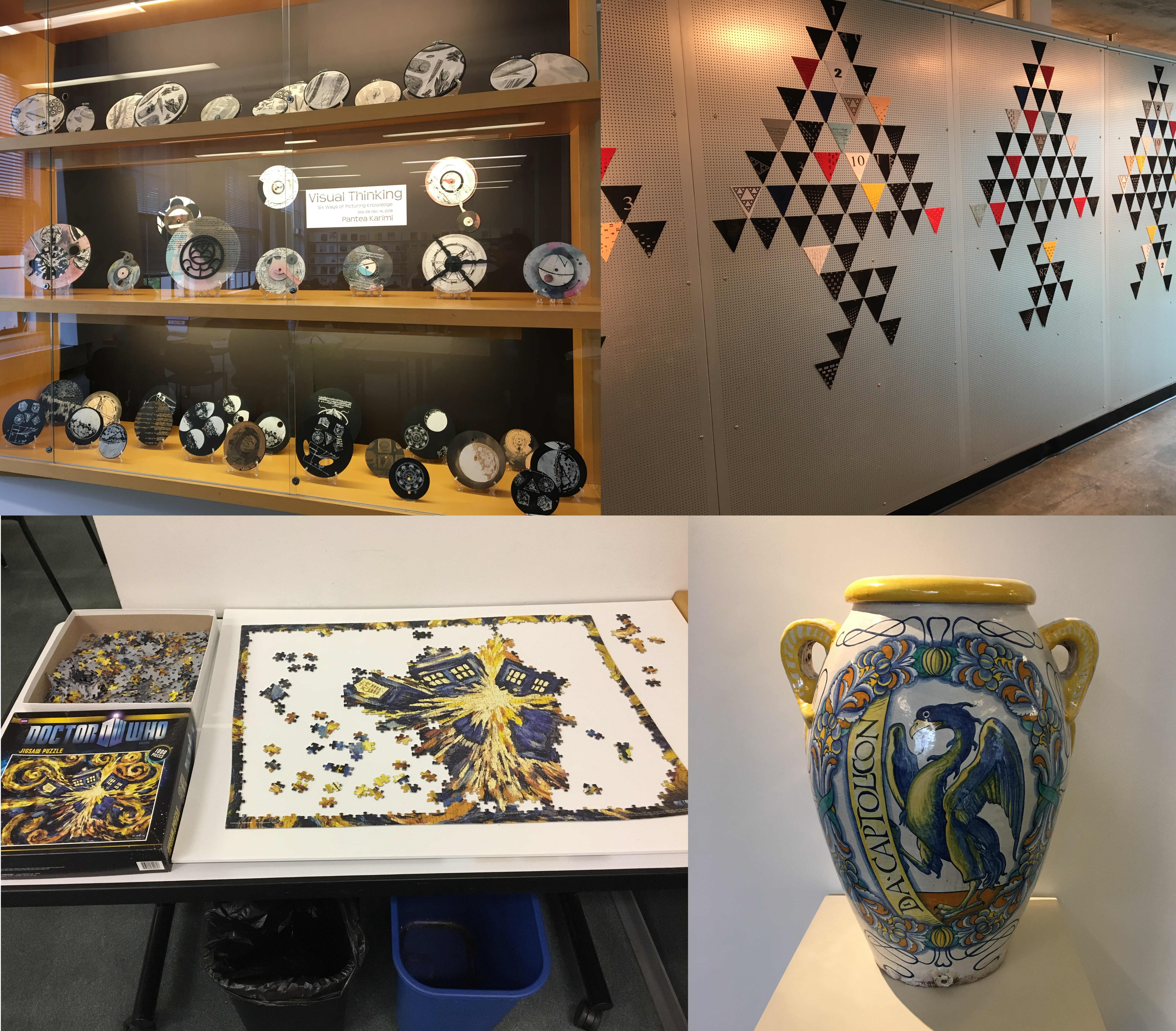 A set of four photos. Top left: a cabinet full of decorative plates. Top right: A wall with colourful triangles arranged in geometric patterns. Bottom left: An unfinished Doctor Who puzzle. Bottom right: A large white vase painted with yellow and blue patterns and what looks to be a winged dragon.