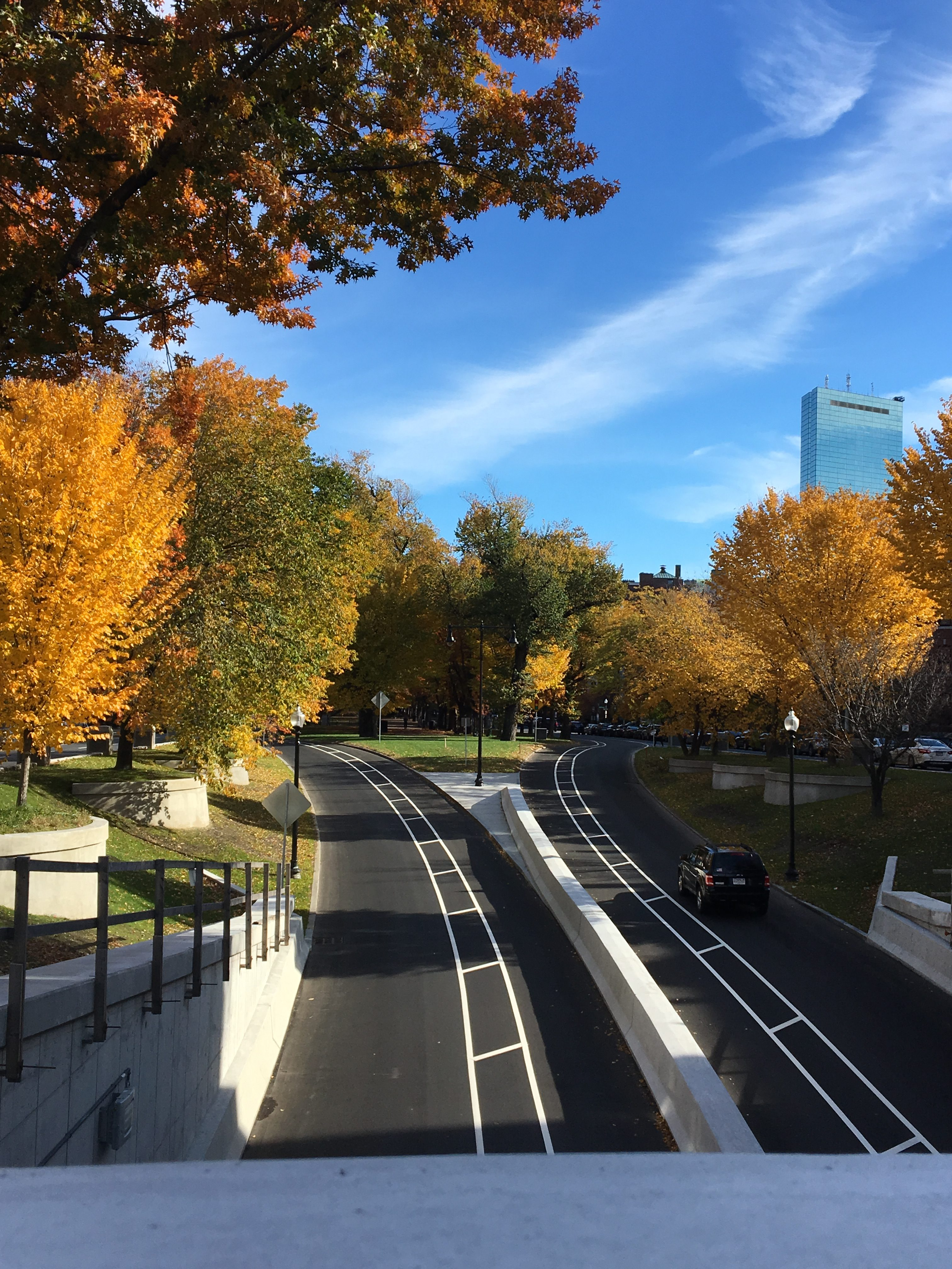 The view from an overpass in Boston. The black road has bright white stripes painted on it, and to either side is green grass, blue sky, and yellow-orange trees.