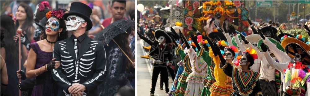 Left: James Bond in the middle of a (staged) Day of the Dead parade in Mexico City. Right: men and women in colorful costume, adorned with flowers and with faces painted as skulls, march in an actual Day of the Dead parade.