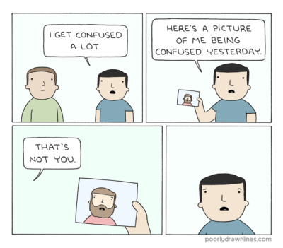comic in which man is confused, thinking a picture of another man is a picture of himself