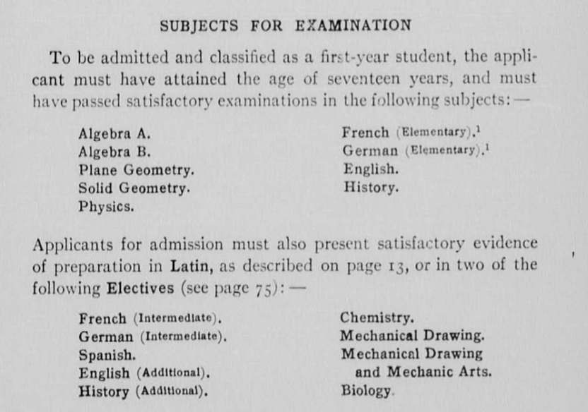 Table showing required entrance examinations from 1917-1918