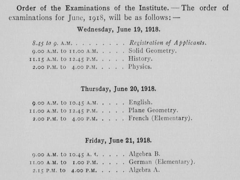 Image showing a 3-day entrance examination schedule from June 1918