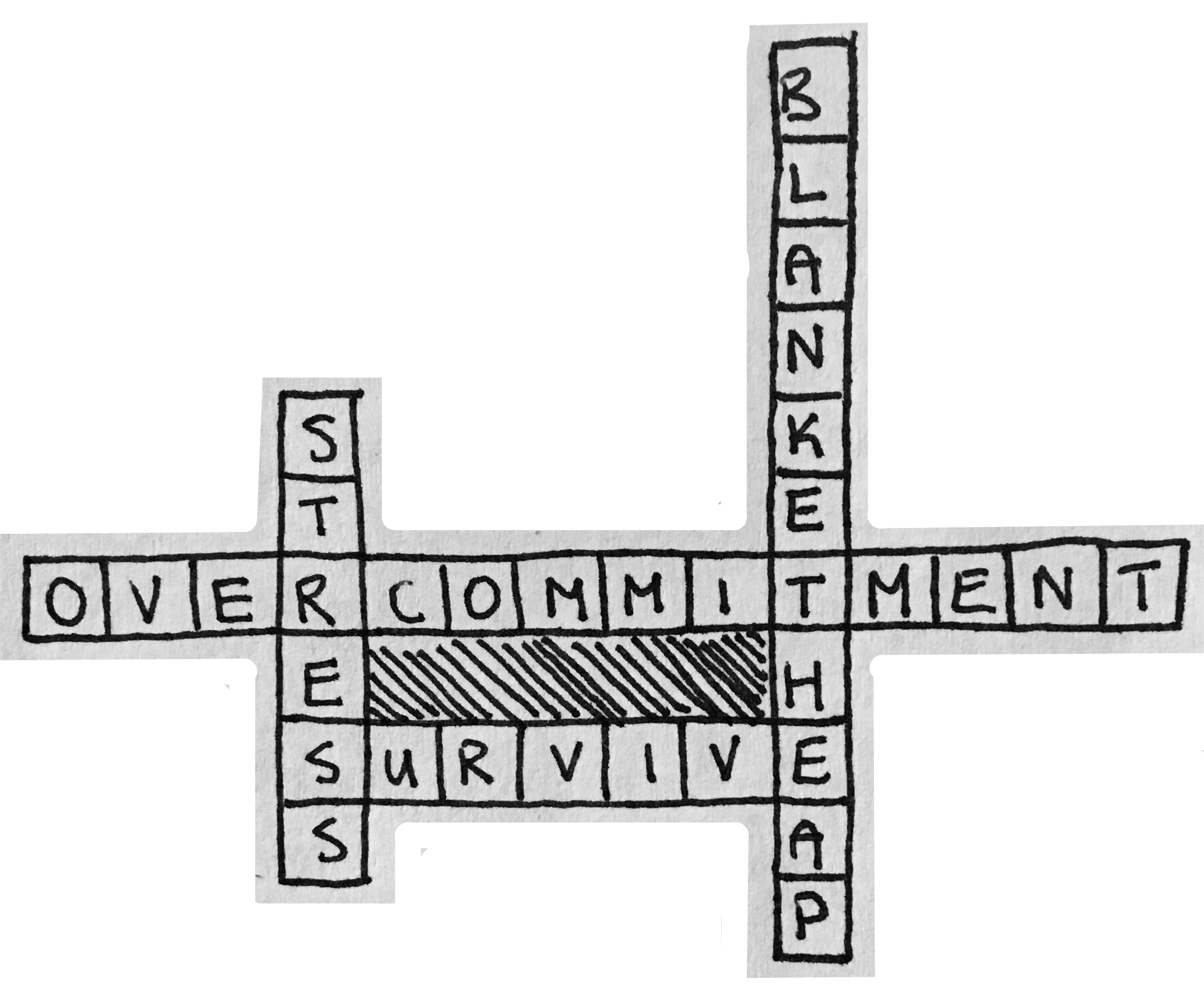 "Four words connected crossword style: ""stress"", ""blanket heap"", ""overcommitment"", and ""survive""."
