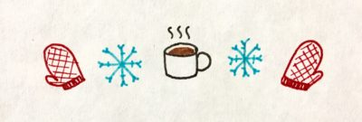 A symmetric line of red mittens, blue snowflakes, and a steaming cup of hot chocolate.