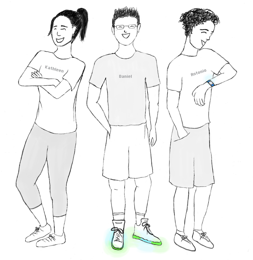 three people in athletic clothes