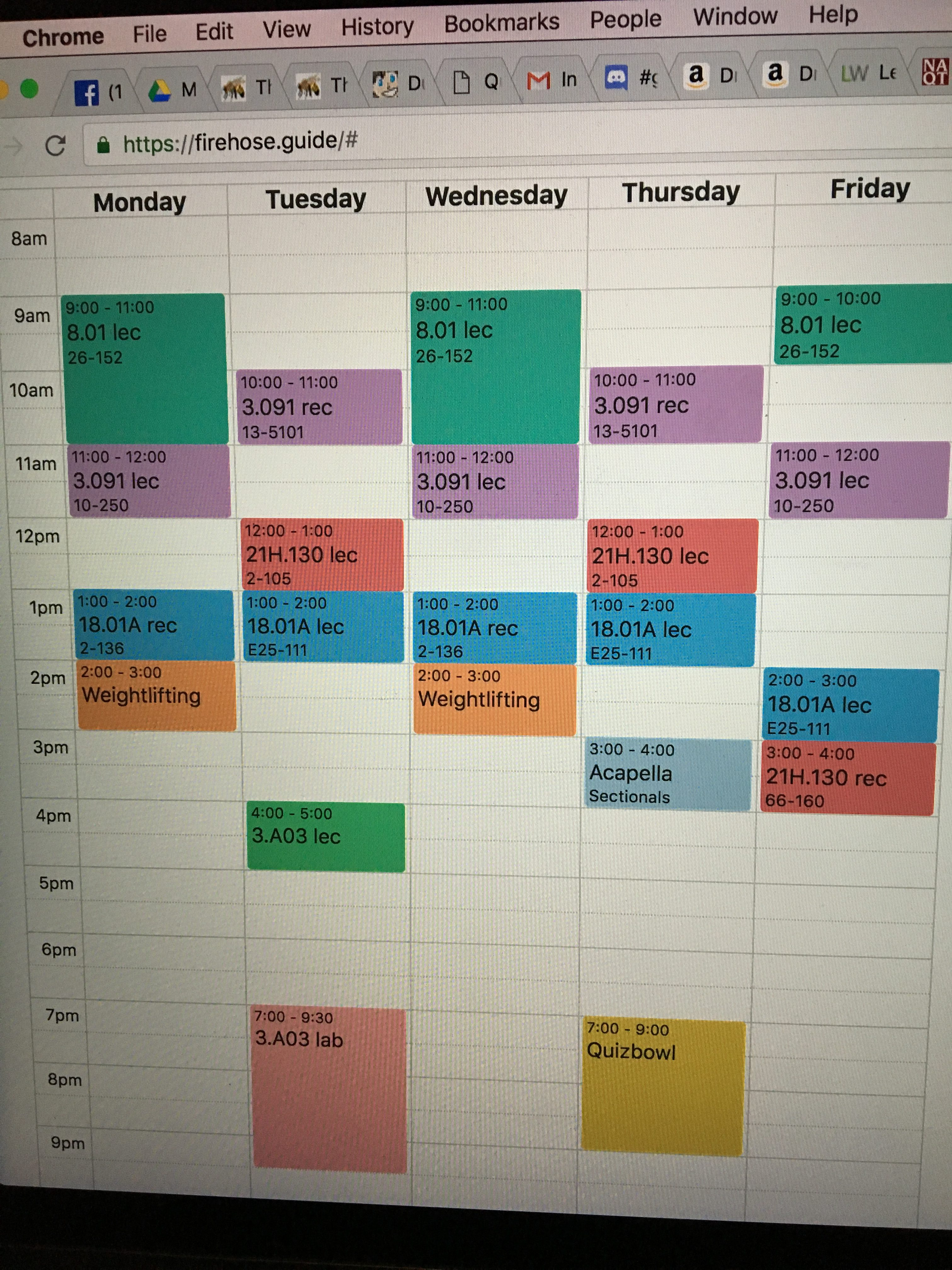 A picture of my schedule this past semester, organized using the website Firehose.