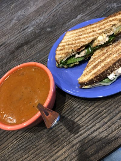 tomato soup and turkey sandwich