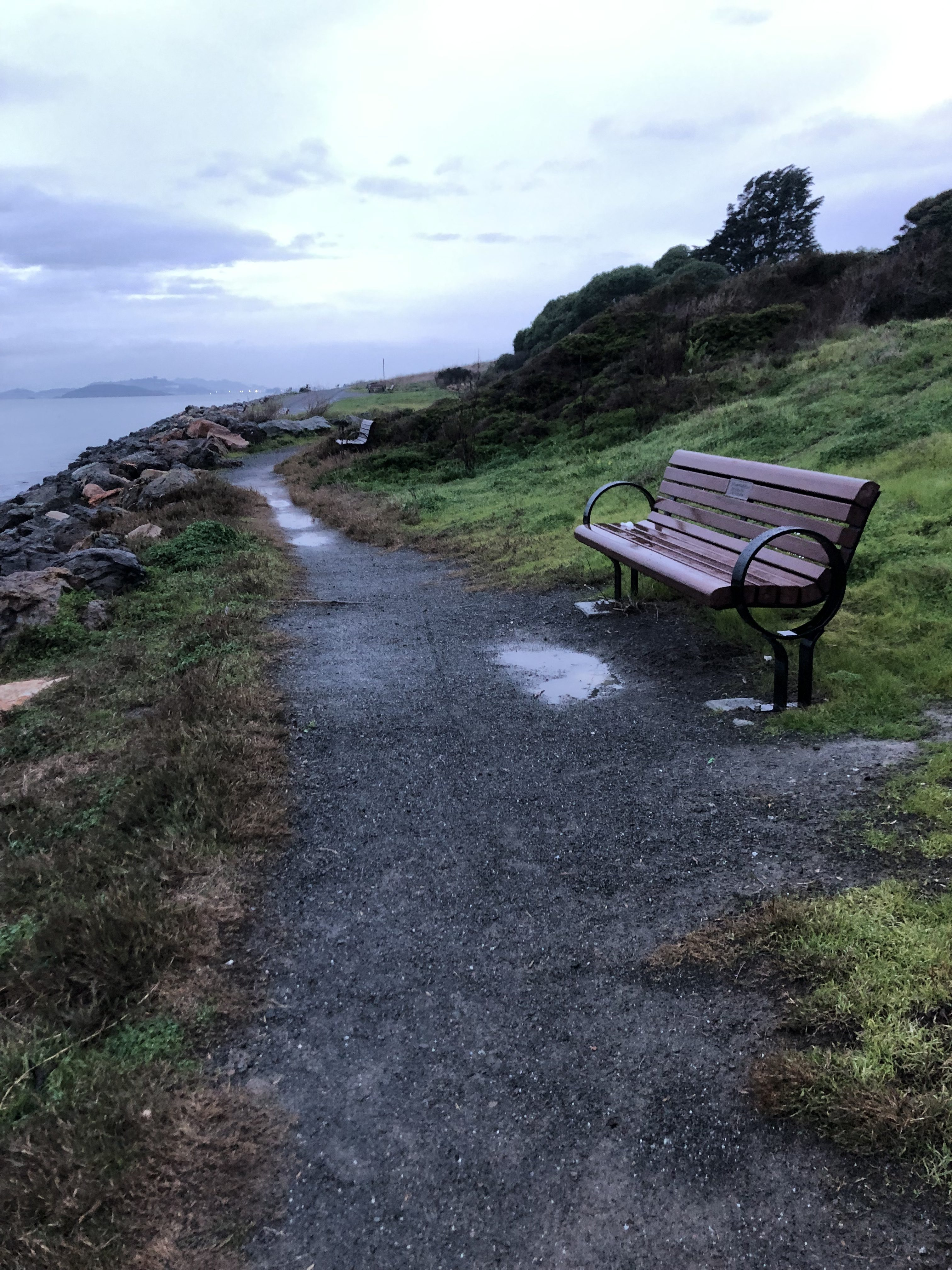park 1 (gravel path, with bench and grass on one side, and the sea on the other)