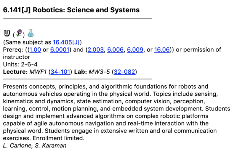 6.141 Robotics: Science and Systems Description