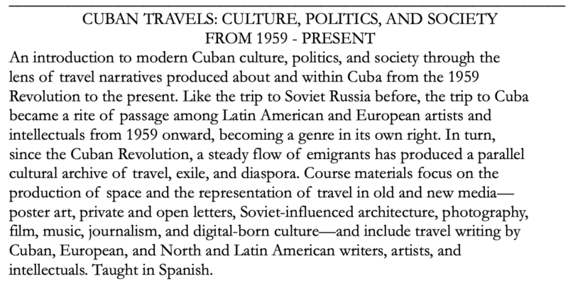 Cuban Travels: Culture, Politics, and Society From 1959 to Present