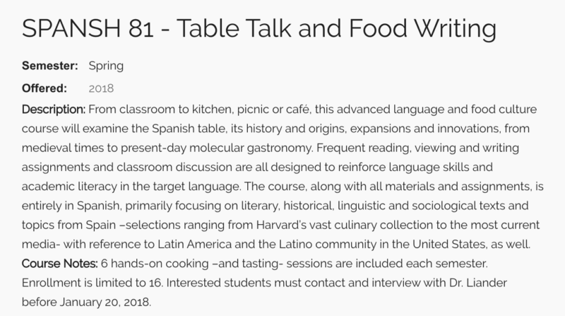 Harvard Spanish 81 - Table Talk and Food Writing