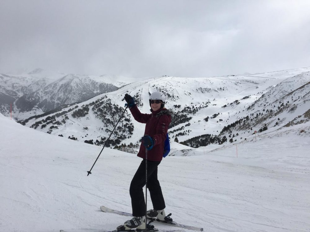 Skiing on a cloudy day