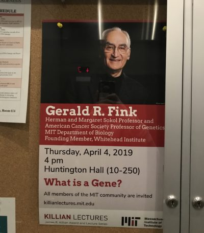 """a poster advertising the Killian lecture """"what is a gene"""""""