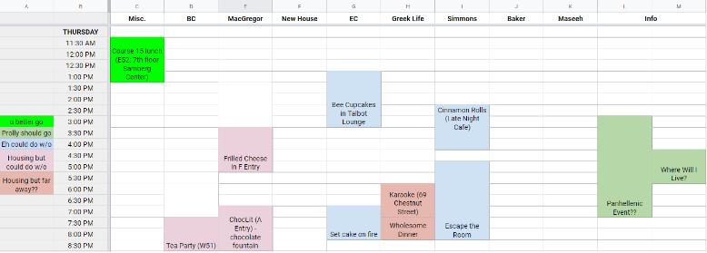 ankita's CPW schedule