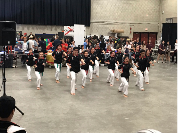 the taekwondo team at activities midway