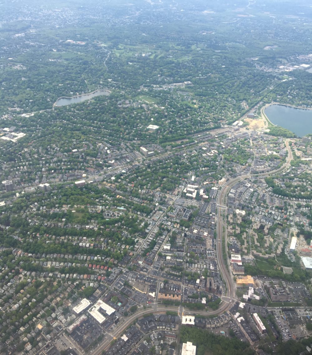 An aerial view of what looks to be a suburban neighborhood.