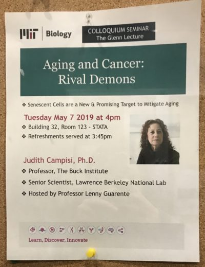 a poster advertising a colloquium seminar by Judith Campisi entitled aging and cancer rival demons