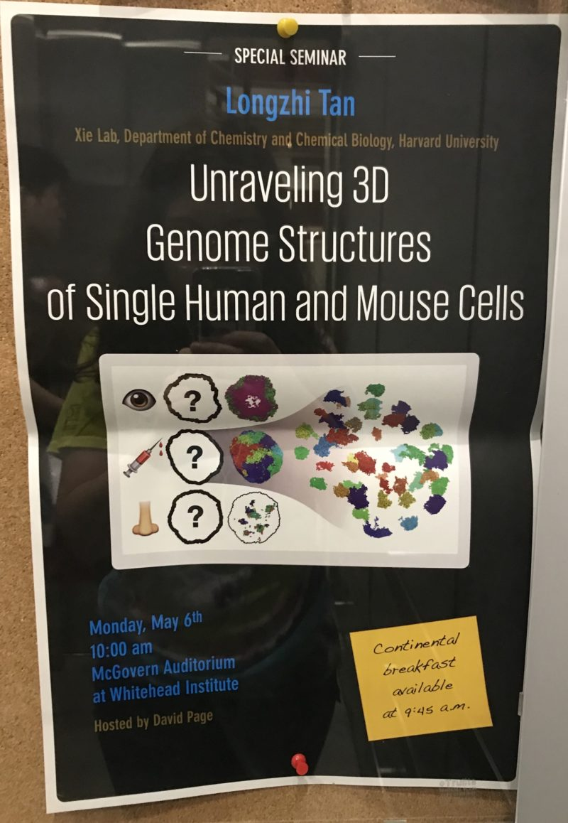 a poster advertising a special seminar by Longzhi Tan called unraveling 3D genome structures of single human and mouse cells