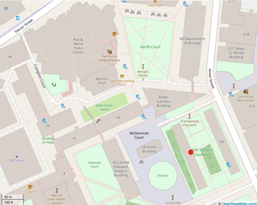 A map of the east side of MIT's campus. There is a red dot on the west parallel of East Campus, where my room is.