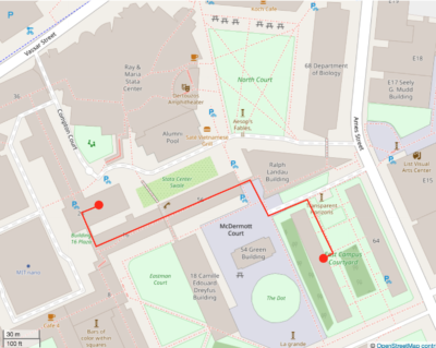 The same map as before, with a red line coming from my dot in East Campus, leading to another red dot in building 26.