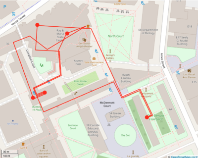 The same map, with last location east campus; the map is beginning to look pretty crowded now.