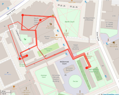 The last version of the map! There are now four lines leading into and out of my dot in East Campus.