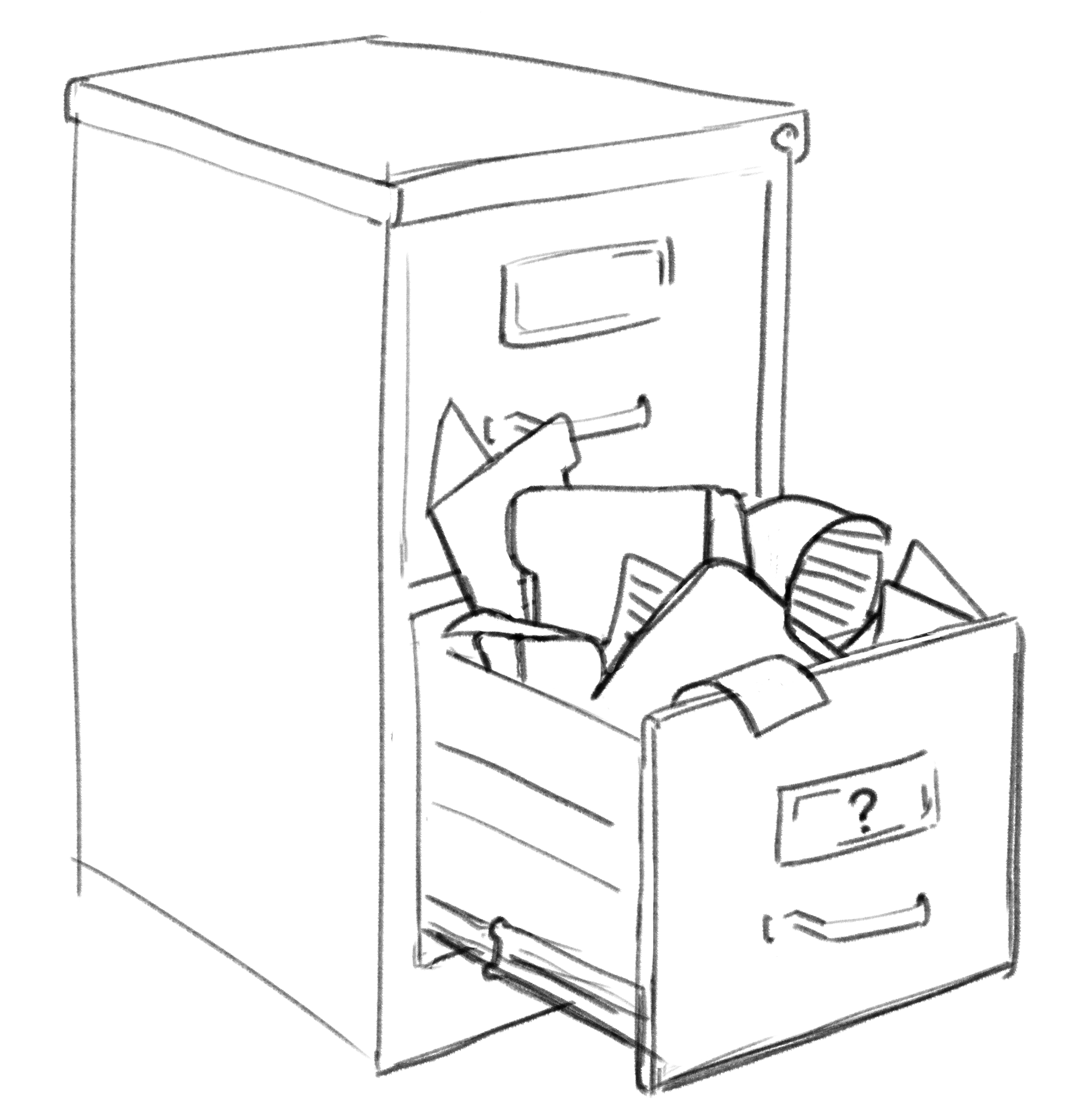 a drawing of a file cabinet exploded open