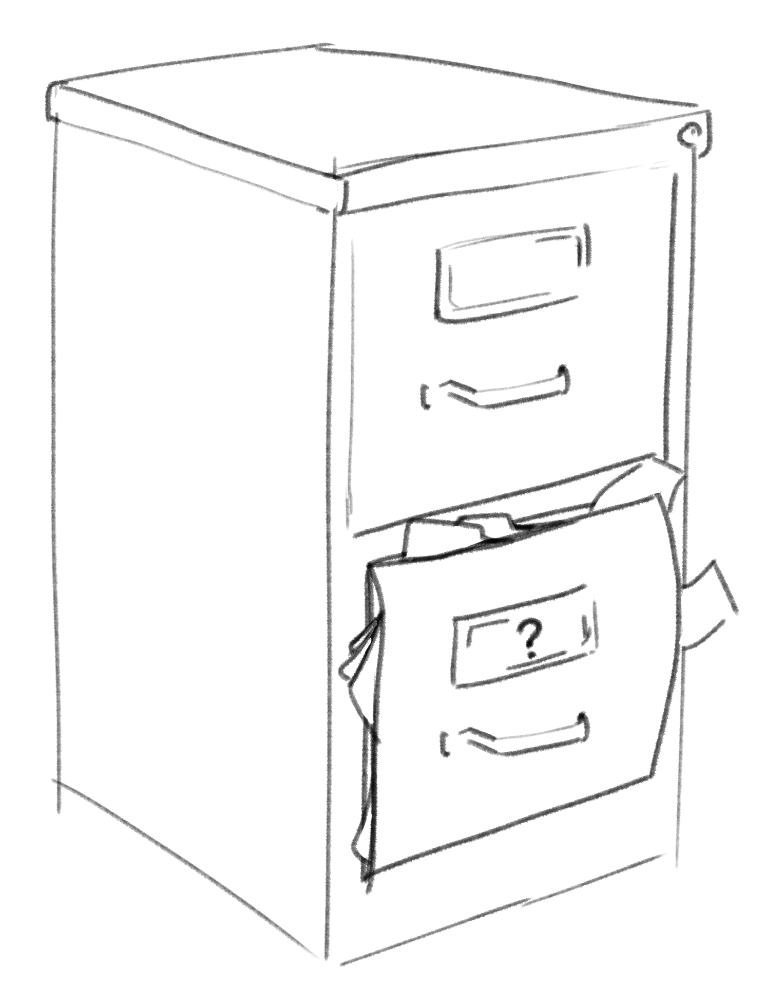 a drawing of a file cabinet about to burst open