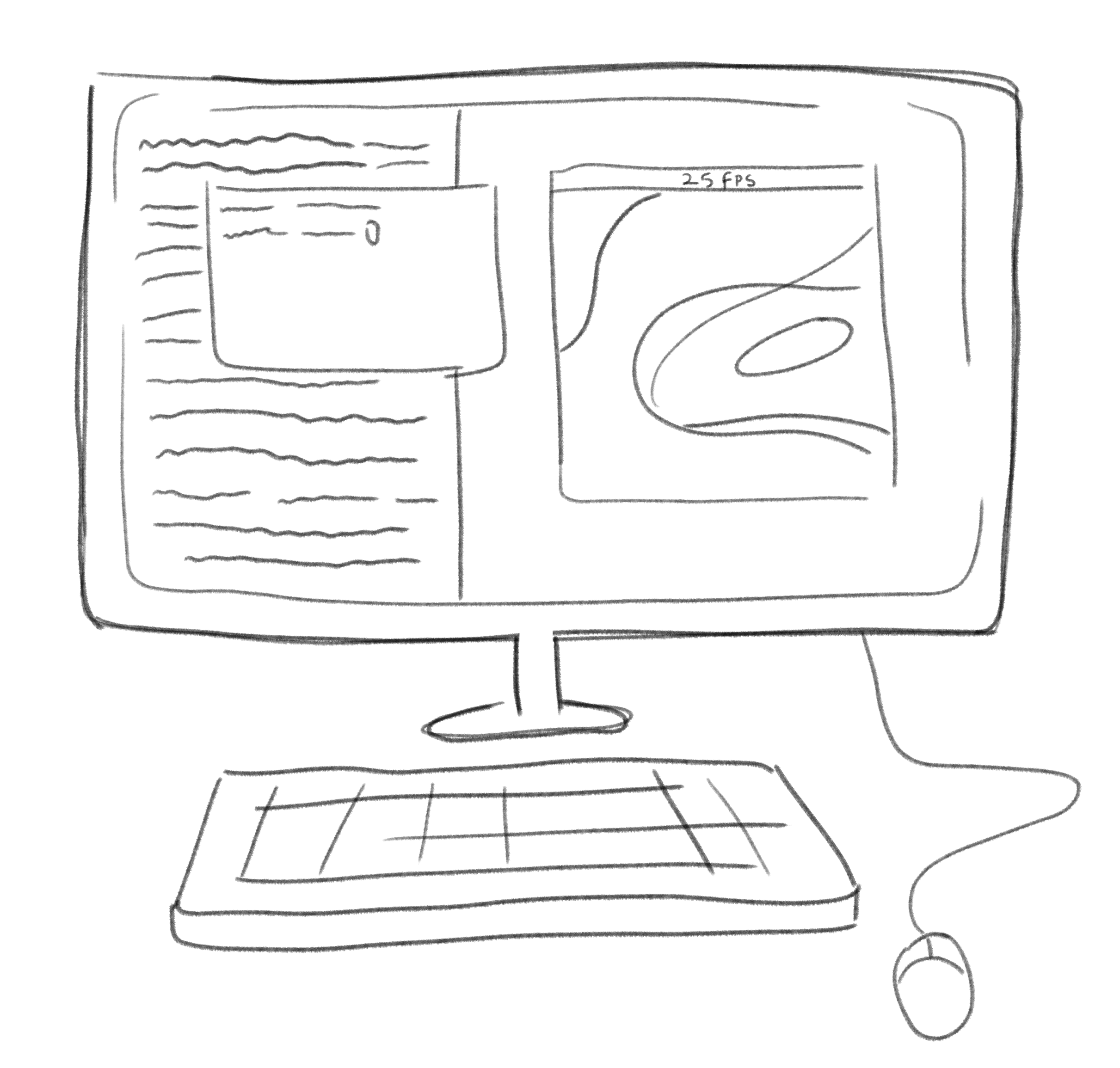 a computer drawing showing what our computer graphics research vaguely looked like