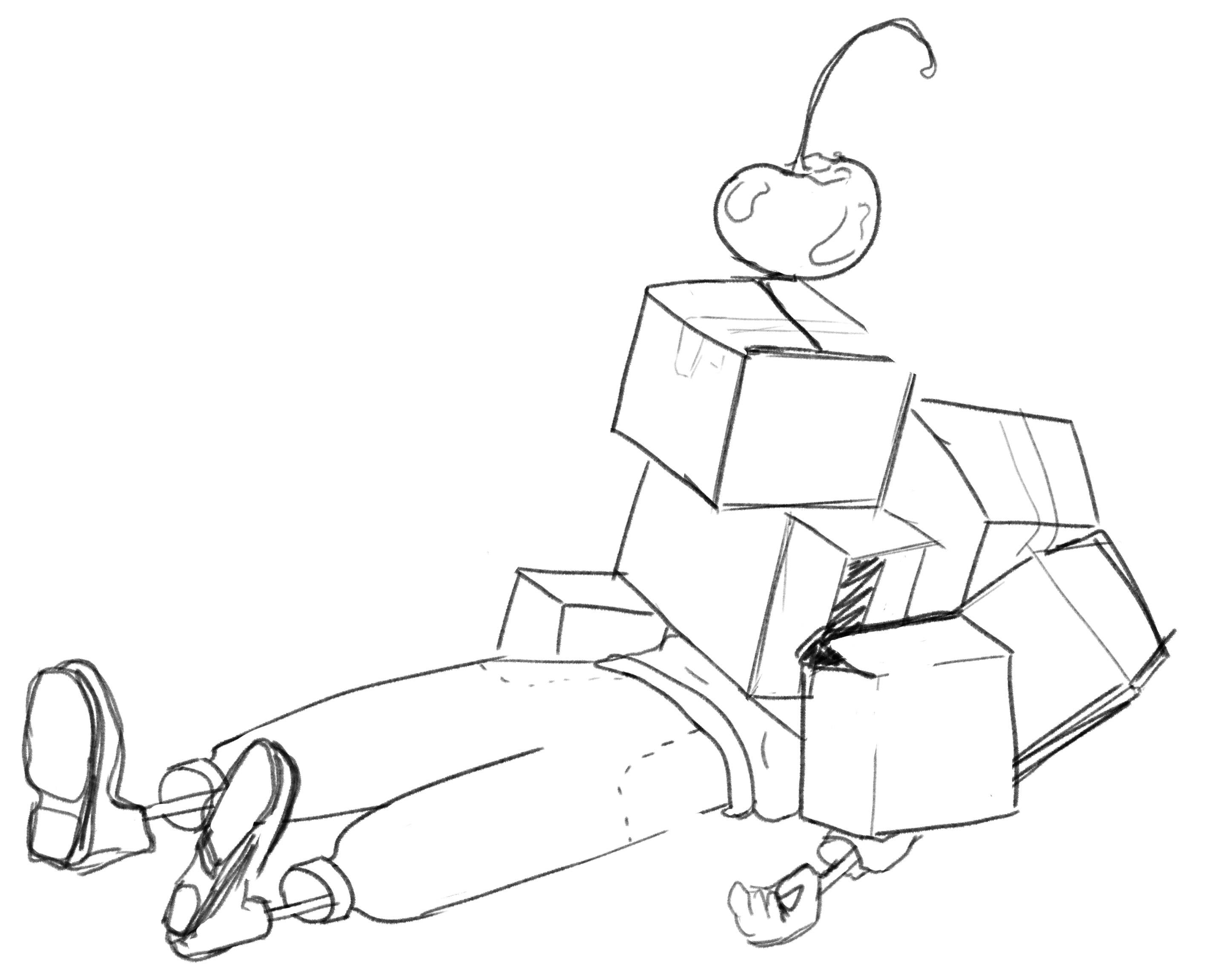 a drawing of boxes piled on top of a person lying down with a cherry on top