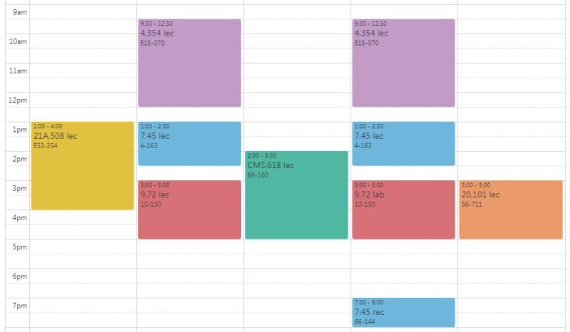 my updated pre-registration schedule with 6 classes