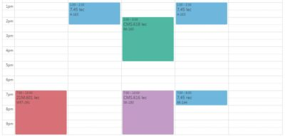 my originally planned class schedule showing four classes