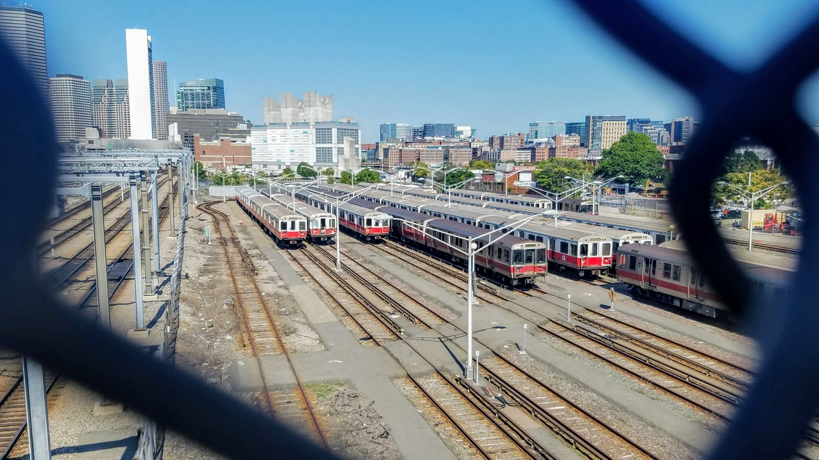 parked red line trains