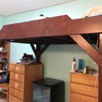 The long side of my loft. It is medium brown, with red undertones, and shines…