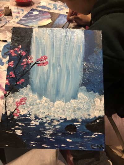 Acrylic painting of waterfall with cherry blossoms on the sides