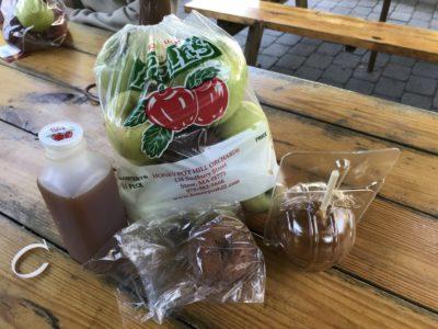bag of apples, cider, caramel apple, and apple cider donut