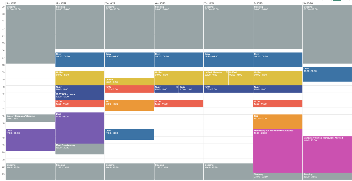 screenshot of a calendar containing sleeping, meal prep, classes, etc.