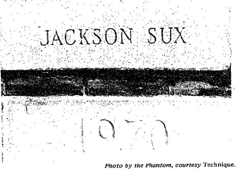 "a picture of the ""Jackson sux"" cornerstone"