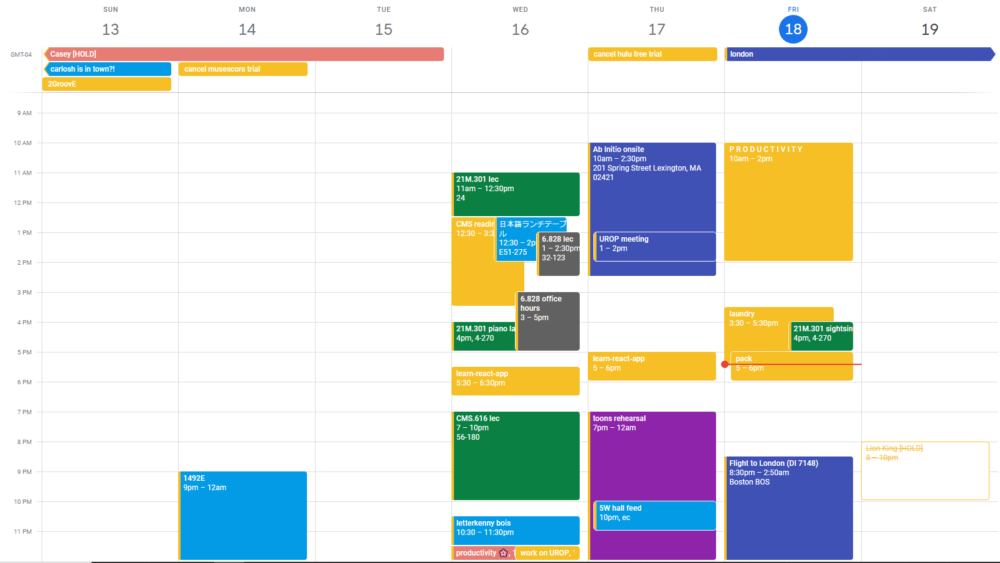 google calendar for this week